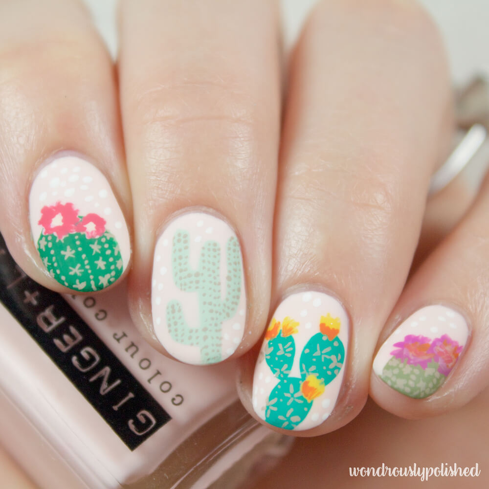 wondrously-polished-erin-condren-life-planner-nail-art-blossom-cactus 4